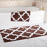 Super Absorbent 100 Percent Egyptian Cotton 2-Piece Chocolate Trellis Bathroom Mat Set