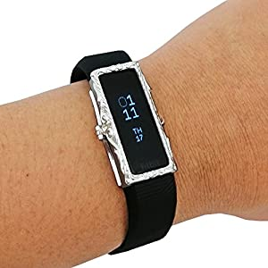 Jewelry to Accessorize the Fitbit Alta and Alta HR - The Protective FRAME COVER in Gold, Silver or Rose Gold to Dress Up Your Fitness Activity Tracker (Silver, Fitbit Alta)