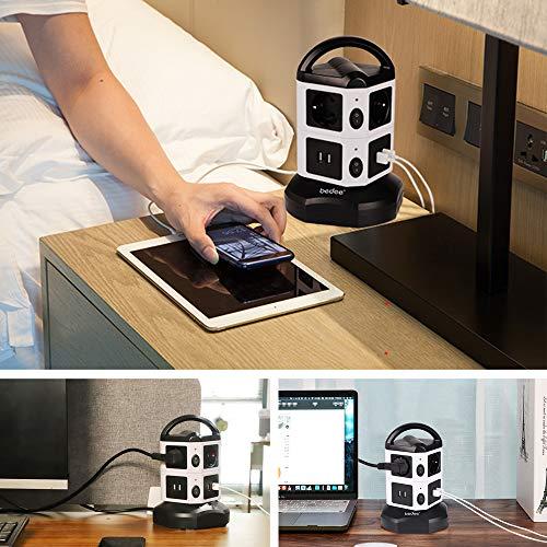 Multiprise Parafoudre et Surtension, Tour Multiprise, 6 Prises (2500W/10A) et 4 Ports de Charge USB (5 V / 2.1 A) avec Cordon de 2m, Multiprise USB Verticale avec Interrupteur pour iPhone iPad PSP