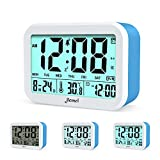 jiemei Digital Alarm Clock, Talking Alarm Clocks for Kids and Adults, Battery Operated, 4.5'' Display, Smart Backlight, 3 Alarms, 7 Rings, Good Gift Choice (Blue)