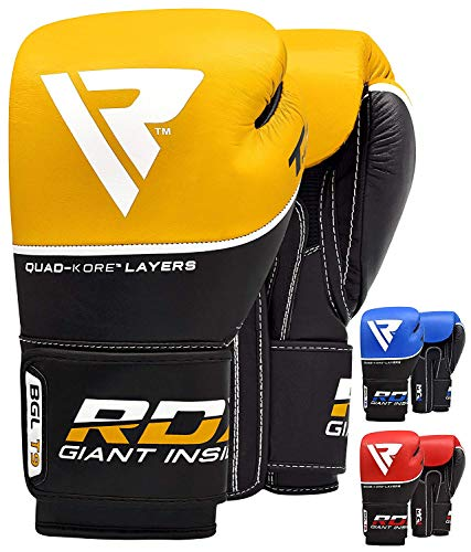 (RDX Cow Hide Leather Gel Boxing Gloves Sparring Training Glove Punching Bag Mitts Muay Thai T9)