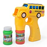 PACKAGE VALUE: Durable kids fun bubble shooter shaped in a yellow school bus version. Bubble blaster comes with exciting sounds and music. Set will come with two bubble solution which is easy to attach. Gun comes with batteries included for y...