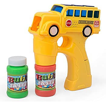 Kidsthrill Yellow School Bus Bubble Shooter Gun With Sounds And Music – 2 Bubble Solution Included - Assorted Colors