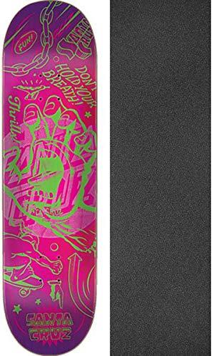 "Santa Cruz Skateboards Flash Hand Skateboard Deck - 8.5"" x 32.2"" with Jessup Black Griptape - Bundle of 2 Items"