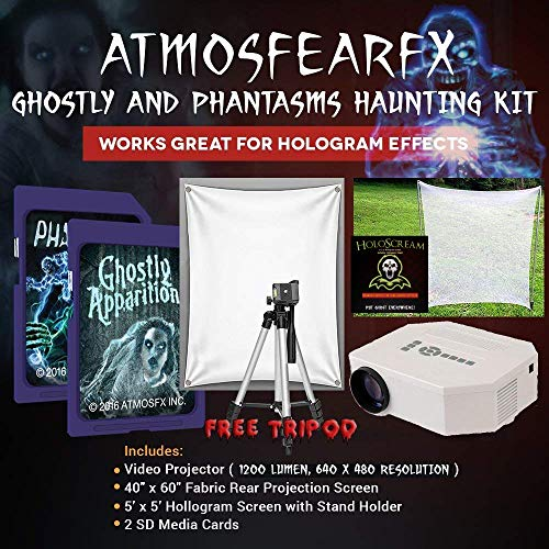 (AtmosfearFX Ghostly Apparitions, Phantasms SD Media Card Ultimate Haunting Kit, Includes 1200 Lumen Projector, Translusent Screen, Hologram Screen with Stand Kit and Free Tripod)