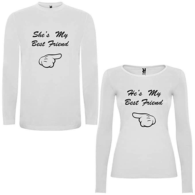 Pack de 2 Camisetas Blancas para Parejas Shes my Best Friend y Hes my Best Friend