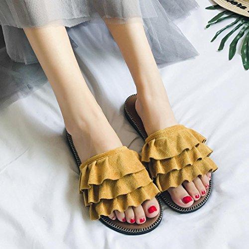 Suave Amarillo Estar Mujeres Sandalias Suave Zapatillas Zapatos Casual 2018 y Ponerse Suave Barco Fondo Pisos Chanclas Zapatos Mujer Bordado de Verano Casa WINWINTOM por Y5zgffwxq