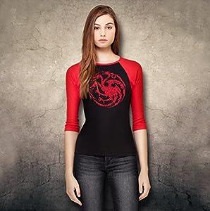 Targaryen Sigil 3/4 Sleeve Fitted Baseball Shirt. Bella Brand, Soft & Stretchy Fabric