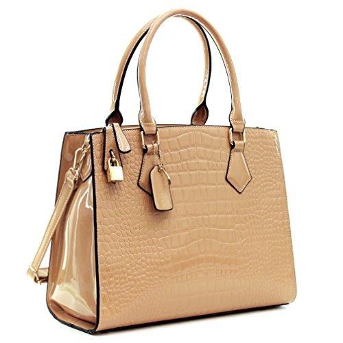 Dasein Patent Faux Leather Croco Embossed Tote Satchel Briefcase Shoulder Bag Handbag Purse - Pink Croco Embossed Leather Tote Bag