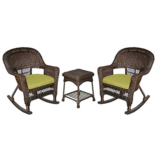 Jeco W00201R-A_2-RCES029 3 Piece Rocker Wicker Chair Set with Green Cushion, Espresso