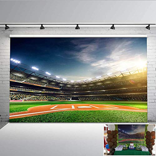 Mehofoto Green Baseball Photo Backdrop 7x5ft Customized Seamless Vinyl Photography Background Art Fabric Photo Booth Backdrops for Children Kids]()