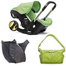 Green Doona Stroller Snap on Storage and Essentials Diaper Bag with Stroller Car Seat and Base