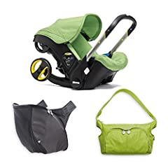 """Safely seats infant 4 to 35 lb. and up to 32"""" tall 5-point adjustable safety harness Rear-facing when used as a car seat and stroller Included infant insert cradles and supports newborns Thick, protective padding for safety and comfort Padded..."""
