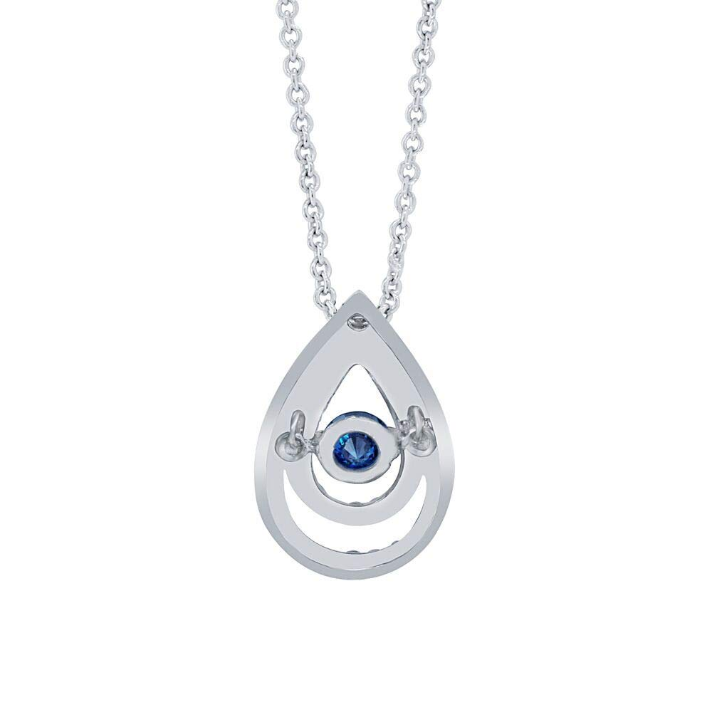 Precious Stars Jewelry Platinum and Silver Round Pendant with 0.26 carats Blue and Natural White Diamonds