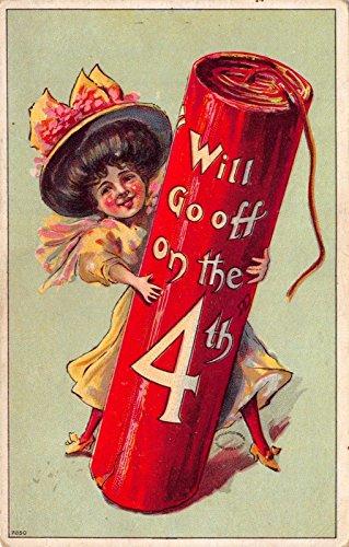 - Fourth of July Postcard Girl Holding a Giant Firecracker Firework~112598