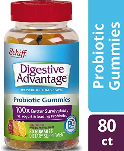 Probiotic Gummy for Adults, Digestive Advantage 80 Gummies, Gluten-Free, Survives 100x Better, Assorted Fruit Flavors, Supports Digestive Health