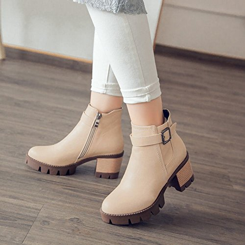 Latasa Moda Para Mujer Mid Chunky Heel Tobillo Chukka Botas Albaricoque
