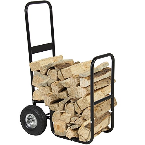 Angelwing Firewood Cart Log Carrier Fireplace Wood Mover Rack Caddy Rolling - Gp Plastic Bin