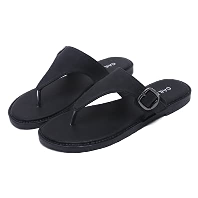 57b5ba093 Womens Flip Flops Flat Slide Sandals Summer Casual Outdoor Indoor Slipper  Shoes(Black-35