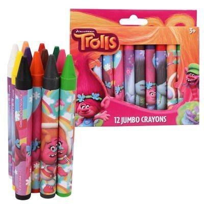 Trolls Jumbo Crayons, Assorted Colors, 12-Crayons per Pack
