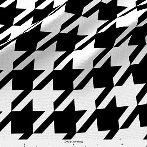 Houndstooth Fabric Houndstooth Black And White Minimalist Pattern Print Fabric by Charlottewinter Printed on Lightweight Cotton Twill Fabric by the Yard by Spoonflower - Fabrics Crimson Twill