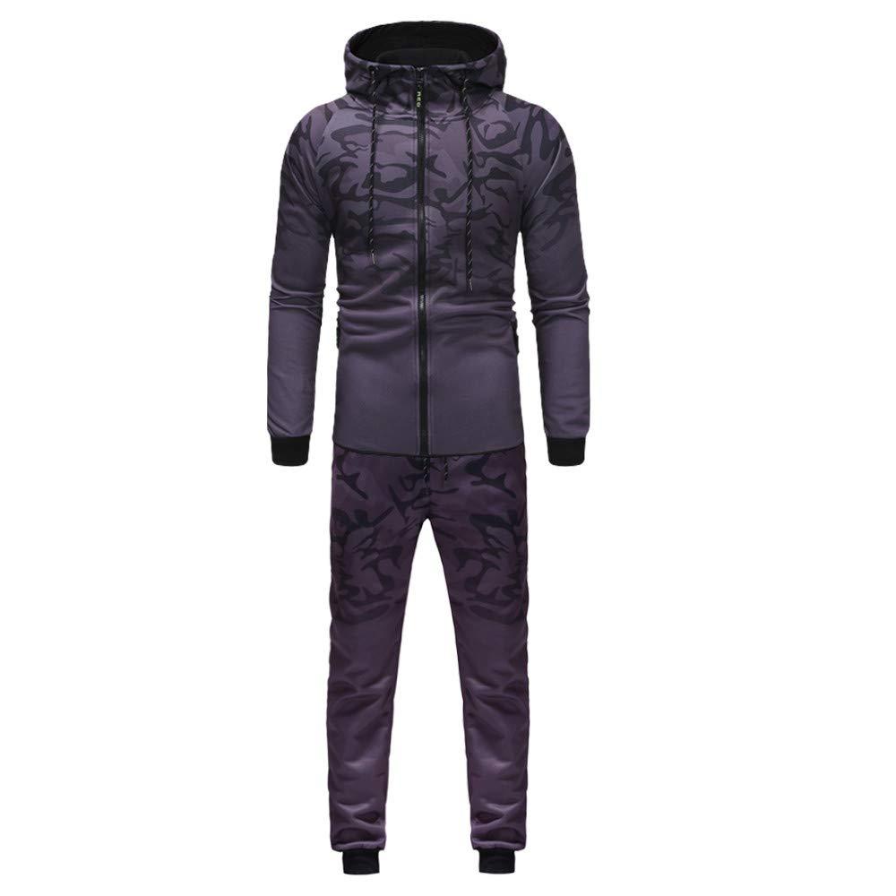 BSGSH Active Long Sleeve Tracksuit Set for Men, Men's Camo Zippper 2 Piece Jacket & Pants (M, Gray)