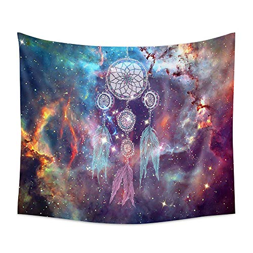 PHNAM Bohemian Colorful Dream Catcher Tapestry 59 × 79 Inches Large Wall Hanging for Bedroom Living Room Decor (H)