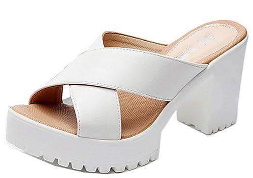 Easemax Femme Original Chaussure de Plage Talon Bloc Chunky Mules Blanc 42  EU c7579cbe27e0