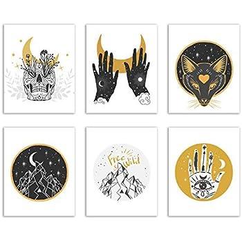 Spiritual Occult Prints - Set of Six Mystic Bohemian Hipster Decor Wall Art Photos 8x10 Nature Alchemy Astrology Skull Wolf