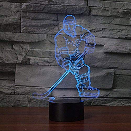 Light Player Night Nfl - 3D Abstract Ice Hockey Athlete Night Light 7 Color Change LED Table Desk Lamp Acrylic Flat ABS Base USB Charger Home Decoration Toy Brithday Kid Children Gift