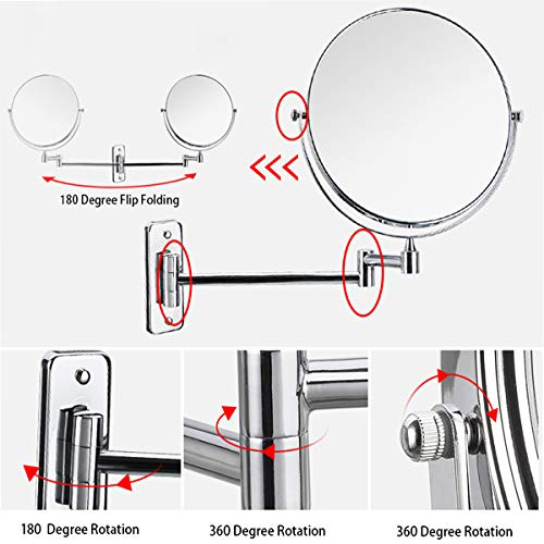 Lansi 10x Magnifying Wall Mounted Makeup Mirror,10X Magnification Makeup Mirror Adjustable Height Double-Sided Mirrors for Bathroom Vanity Round Shape