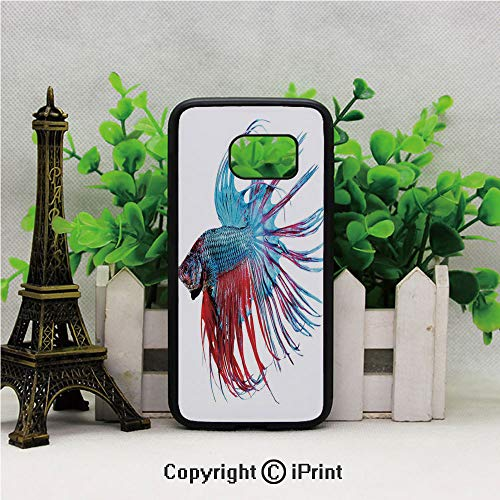 Fantastic Betta Fish Close Up Dragon Fish with Fringy Tail Tropic Aquatic Life Decorative 2D Printing of Samsung S7 Case Black Soft TPU and PC Protection Anti-Slippery Case For Samsung S7 Light Blue R