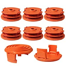 """Eyolotyi Weed Eater Replacement Spools for Worx WA0007 WG116 WG119 String Trimmer Edger Spool Line Refills Parts Auto-Feed 2 x 16ft 0.065"""" with 50019417 Spool Cap Covers (6 Spool, 2 Cap)"""