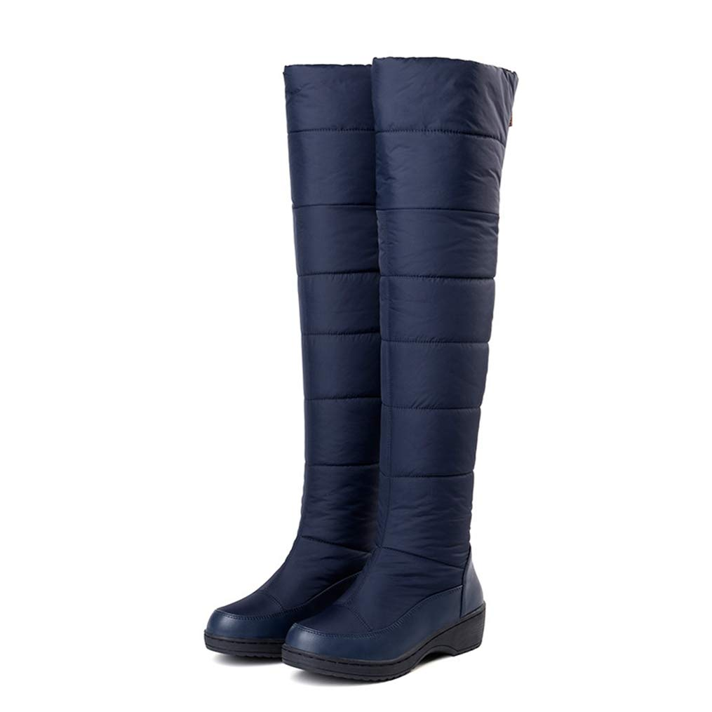 bluee Hoxekle Winter Women Over-The-Knee Boots Mid Heels Round Toe Zipper Waterproof Sexy Ladies shoes Black Down Snow Boots