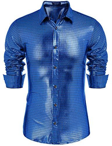 COOFANDY Men's Metallic Shirt Slim Fit Long Sleeve Shiny Sequin Shirt Disco Party]()