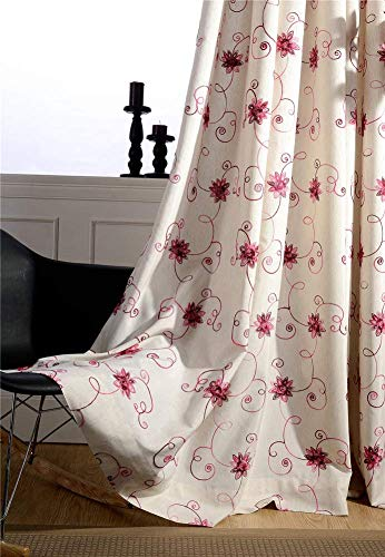 BW0057 Modern Rural Floral Cotton Linen Embroidery Curtain Window Treatment Rod Pocket Panel Draperies Bedroom Living Room Kichen Room-001(1 Panel, W 50 x L 63 inch, Red) - Prints Linen Scarf Cotton
