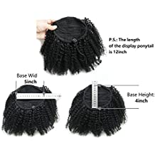 Ms Fenda Hair Raw Remy Virgin Peruvian Human Hair Natural Color Afro Kinky Curly Hair Piece Clip-in Top Closure Ponytail(18inch)