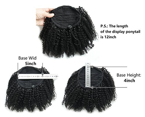 Ms Fenda Hair Raw Remy Virgin Peruvian Human Hair Natural Color Afro Kinky Curly Hair Piece Clip-in Top Closure Ponytail(10inch) (Best Gel For Natural Hair Ponytails)