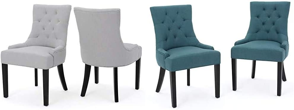 Christopher Knight Home Hayden Fabric Dining Chairs, 2-Pcs Set, Light Grey & Knight Home 299537 Hayden Fabric Dining Chairs, 2-Pcs Set, Dark Teal