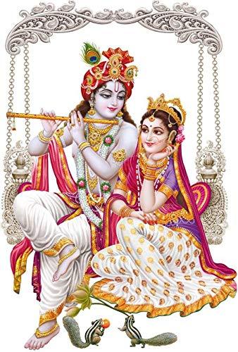 Rangoli god & God's Medium Jhula Swari Krishna Radha Modern Art 129 Sticker (Pack of 1)
