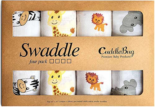 Muslin Squares and Swaddle Blankets - by CuddleBug - (4 Pack) - Large...