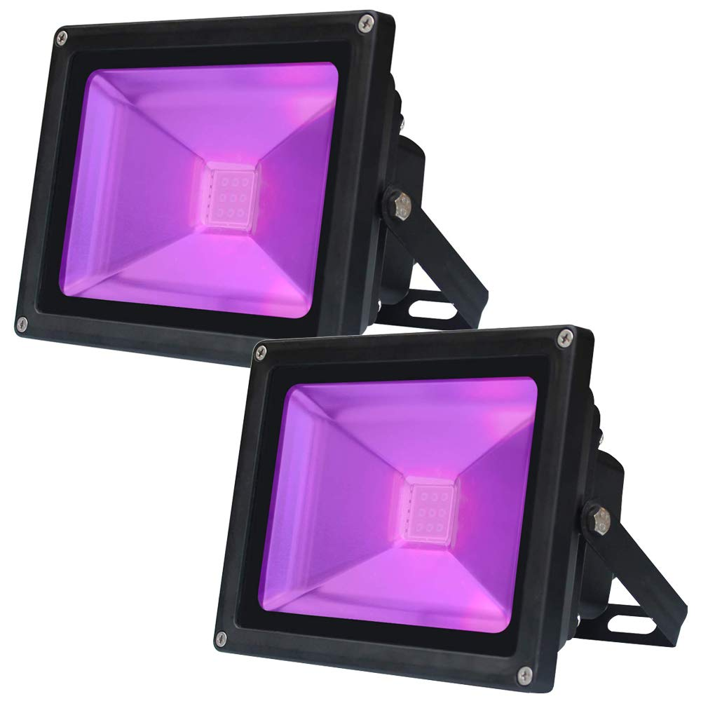 LANFU 2 Pack UV LED Black Light, High Power 10W Ultra Violet UV LED Flood Light IP65-Waterproof (85V-265V AC) for Blacklight Party Supplies, Neon Glow, Glow in The Dark, Fishing, Aquarium, Curing
