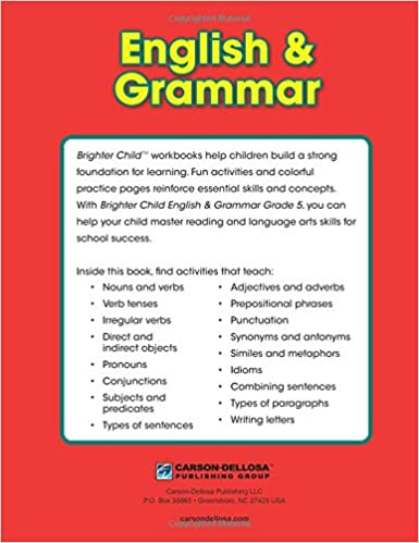 English & Grammar Workbook, Grade 5 (Brighter Child Workbooks ...