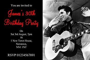 10 X Personalised Elvis Presley Party Invitations Amazoncouk
