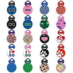 Pawdentify Dog Tag & Links-It with Kevlar Tag Clip - For Dogs & Cats - Easy to Read & Easy to Attach - Made in USA - 20 Designs, 2 Sizes (Bone - Blue, Small)