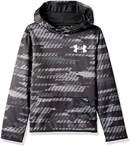 Under Armour Boys Armour Fleece Allover Printed Hoodie, Black (001)/White, Youth Medium