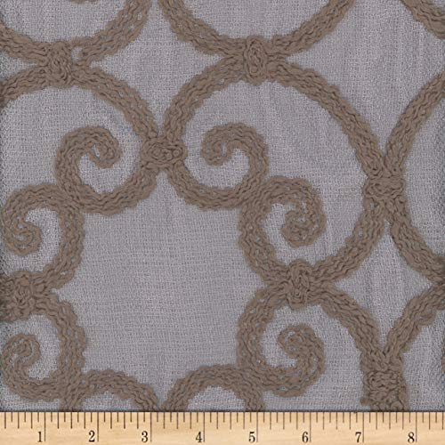 Mook Fabrics Leiden Embroidered Drapery Fabric, Slate, Fabric By The Yard