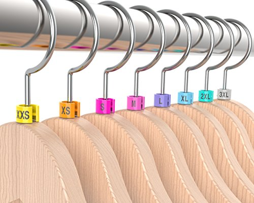 800 PCS Discount Sizing Colored Hanger Sizer Garment Markers (Sizes: XXS-3XL) Color Coded Size Clips - 100 Pieces Per Size