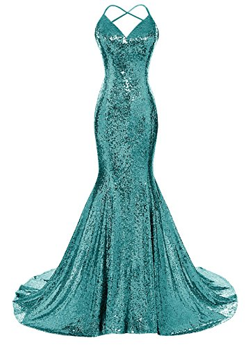 DYS Women's Sequins Mermaid Prom Dress Spaghetti Straps V Neck Backless Gowns Teal US 8