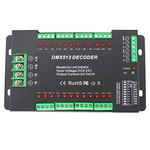 - High Power 24 Channel DMX LED Decoder Controller DMX512 Dimmer Driver DC9-24V 2A/CH